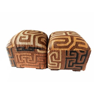 """Upholstered Kuba Ottomans - a Pair 16.5""""h For Sale"""