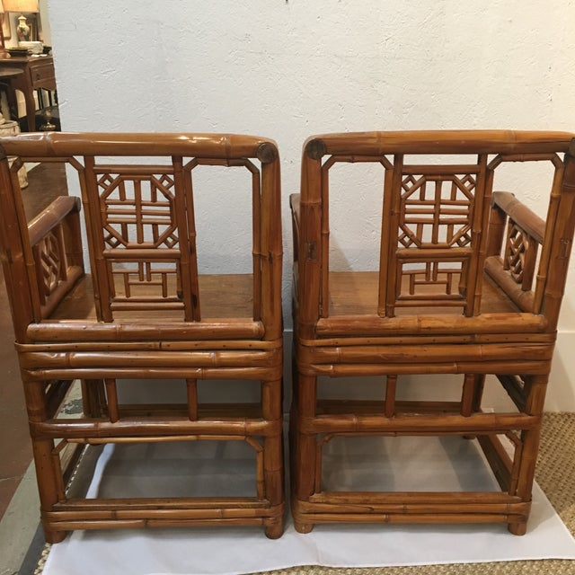 Bamboo Chinese Chippendale Arm Chairs - a Pair For Sale - Image 4 of 6
