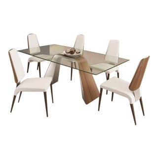 Modern Glass Hyper Dining Table & Chairs by Elite - Set of 7