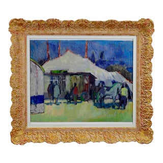Unknown - Impressionistic Watercolor Painting Of A Circus Scenery For Sale