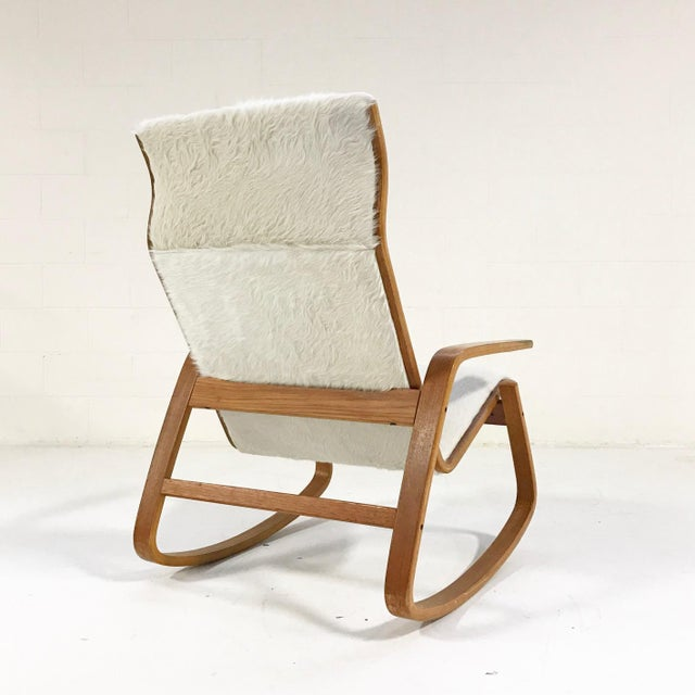Westnofa Furniture Forsyth One of a Kind Westnofa Of Norway Rocking Chair In Ivory Brazilian Cowhide For Sale - Image 4 of 6