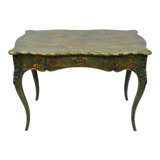 20th Century Chinoiserie Maitland Smith Green Hand Painted Writing Desk For Sale