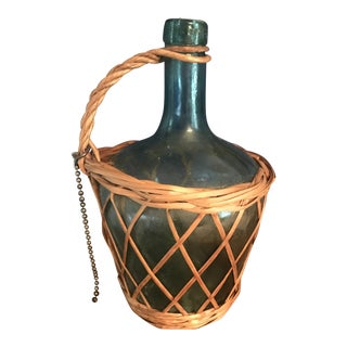 1920s Folk Art Viresa Green Glass Bottle With Basket & Chain