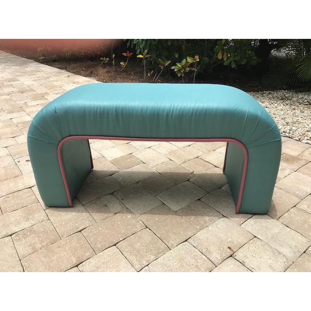 Karl Springer Style Upholstered Waterfall Bench - Image 7 of 7