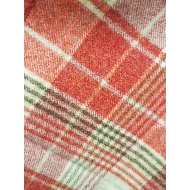 Textile Wool Throw Reds Black White Plaid - Made in England For Sale - Image 7 of 8