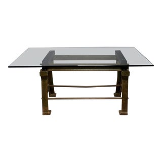 Dining Table With Industrial Iron Base, Original Paint and New Glass Top​ For Sale
