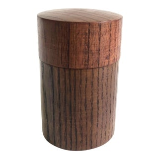 Vintage Double Lid Wood Tea Container For Sale
