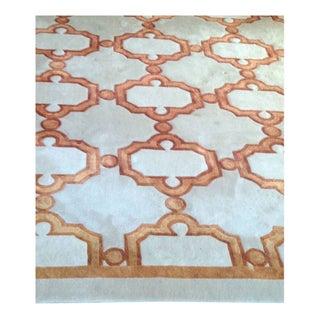 Moroccan Silk & Wool Grey & Orange Rug - 8'x11'