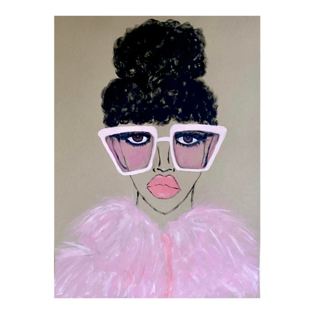 Contemporary Pink Lady Painting For Sale
