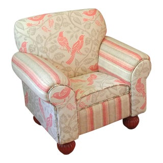 Boho Chic Coral and Beige Children's Armchair