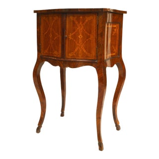 Italian Neoclassical Marquetry Inlaid Walnut Bedside Commode For Sale