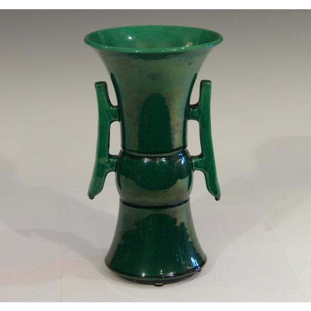 Ceramic Antique Awaji Pottery Arts & Crafts Green Gu Monochrome Vase For Sale - Image 7 of 9