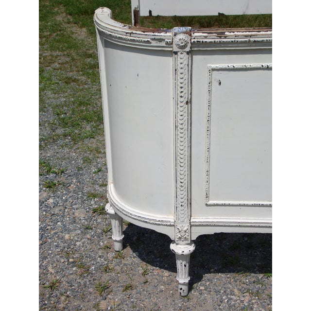 Antique Solid Wood White Painted Cottage Shabby Chic Double Full Bed C.1920's For Sale - Image 10 of 13