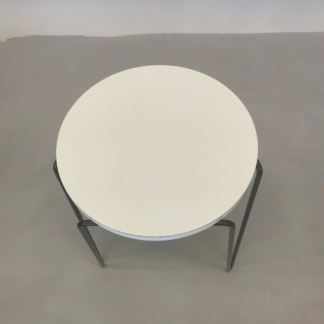 Mid-Century Modern Florence Knoll Hairpin Stool or Side Table With White Laminate Top For Sale - Image 3 of 6