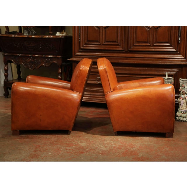 Early 20th Century Pair of Early 20th Century French Club Armchairs With Original Brown Leather For Sale - Image 5 of 9
