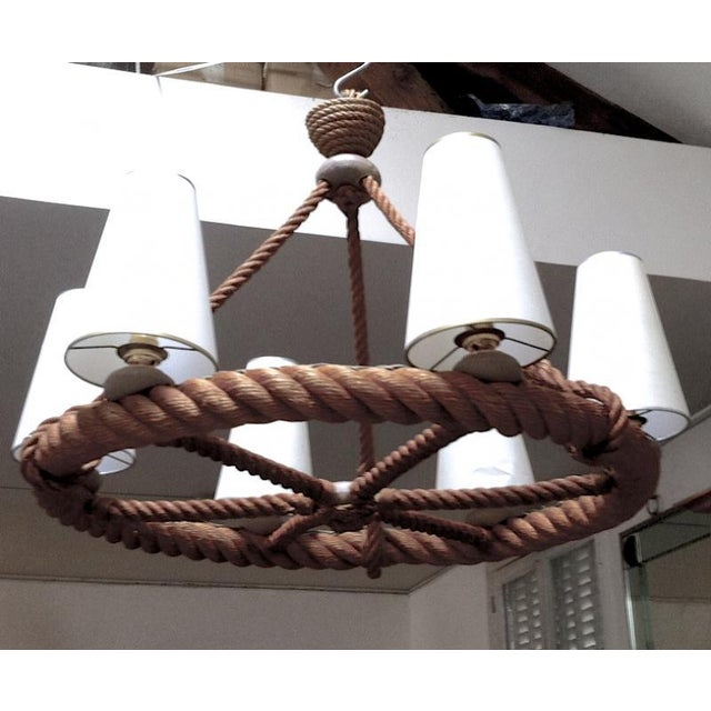 Brutalist Audoux Minet French Riviera 6 Light Rope Chandelier in Good Vintage Condition For Sale - Image 3 of 9