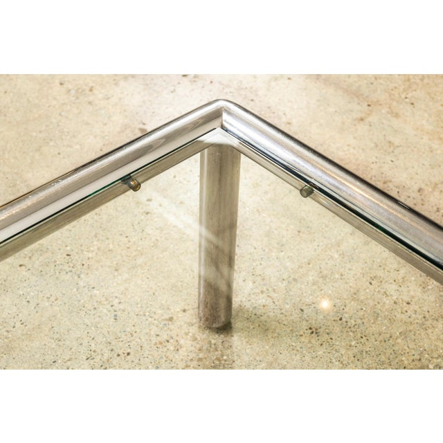 Silver Mid Century John Mascheroni Tubo Glass and Chrome Coffee Table 1970s For Sale - Image 8 of 10