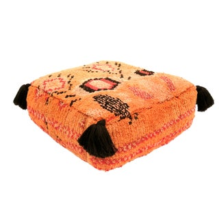 1970s Moroccan Orange and Pink Wool Pouf