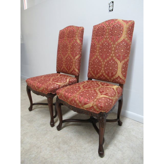 French Country Fremarc Designs Country French Walnut Dining Chairs - a Pair For Sale - Image 3 of 12