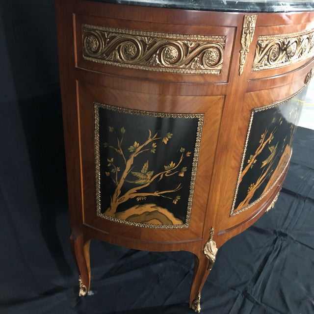 French Louis XV Style Inlaid Demilune Buffet Cabinet Credenza For Sale In Naples, FL - Image 6 of 13