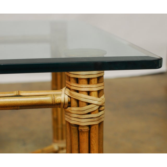 McGuire Reeded Bamboo Rectangular Dining Table For Sale - Image 7 of 8