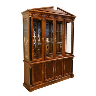 Stanley Furniture Cherry Italian Provincial Illuminated Display China Cabinet For Sale