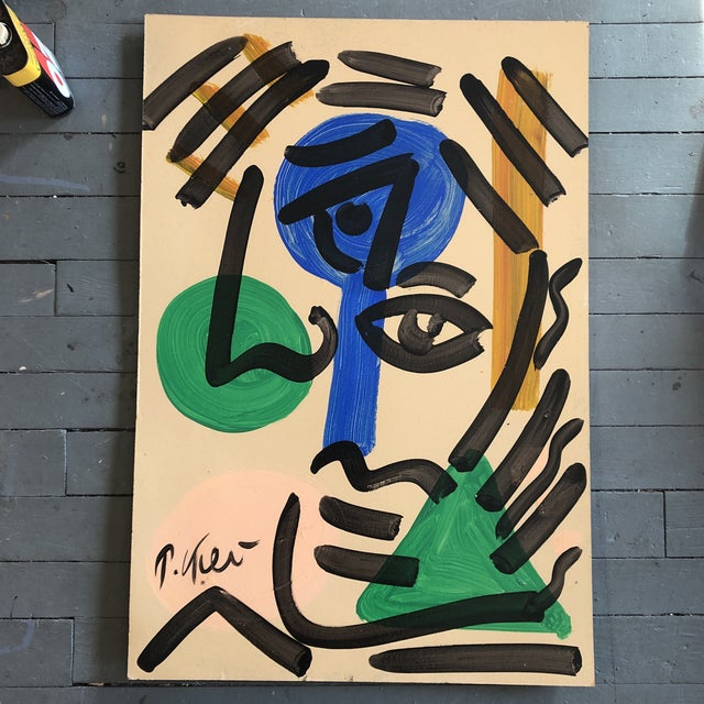 1980s Original Vintage Peter Robert Keil Abstract Portrait Painting 24 X 35 For Sale - Image 5 of 5
