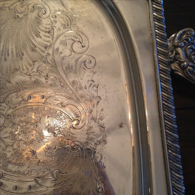 Silverplate Serving Tray For Sale - Image 5 of 11