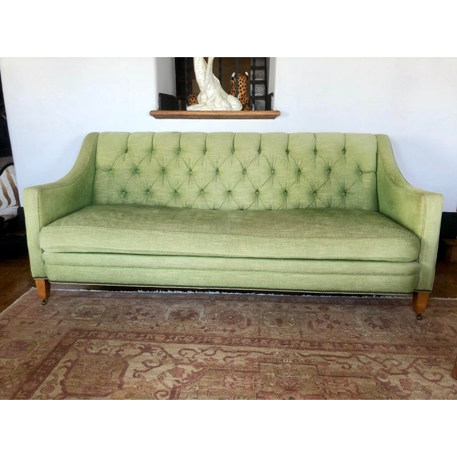 Green 1980s Vintage Tufted Sleigh Back Sofa For Sale - Image 8 of 8