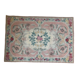 Vintage Mid-Century Chinese Floral Petit Point Small Rug / Tapestry For Sale