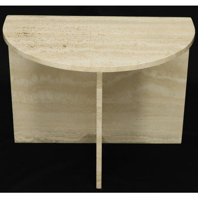 Demilune Travertine Half Round Console Table For Sale - Image 12 of 12
