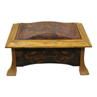 William Mowry French Art Nouveau Style Handcrafted Elm Burl Wood Jewelry Box For Sale