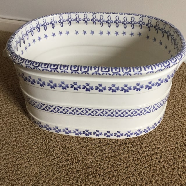 Vintage Blue and White Oversized Hand-Painted Vessel For Sale - Image 4 of 11
