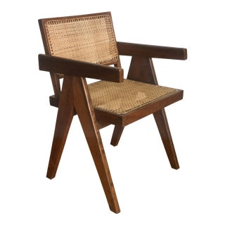 Authentic Pierre Jeanneret Caned Armchair For Sale