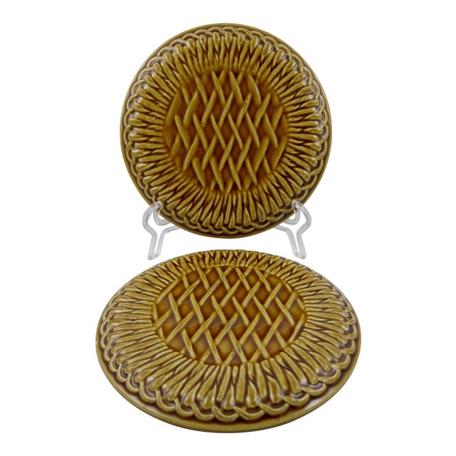 French Faïence Wine Bottle Coasters- A Pair - Image 1 of 9