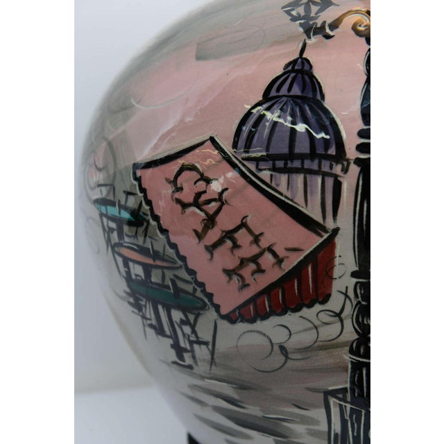 1950s Pottery Vase with Painted Parisian Scene Lamp For Sale In Miami - Image 6 of 9