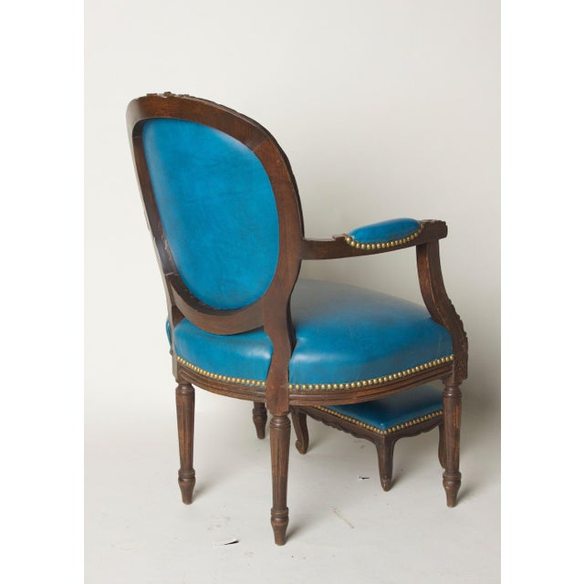 Early 20th Century Early 20th Century Vintage Fauteuil in Blue Leather Chair & Footstool For Sale - Image 5 of 8