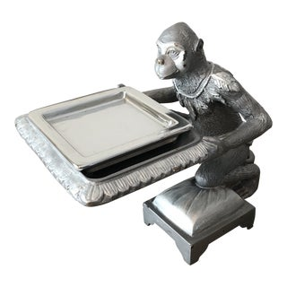 1970s Art Deco Silver Monkey Business Card Holder/Tray