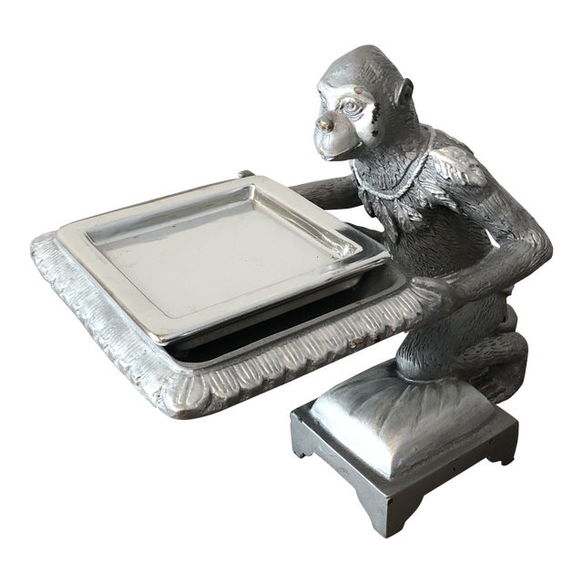 1970s Art Deco Silver Monkey Business Card Holder/Tray For Sale