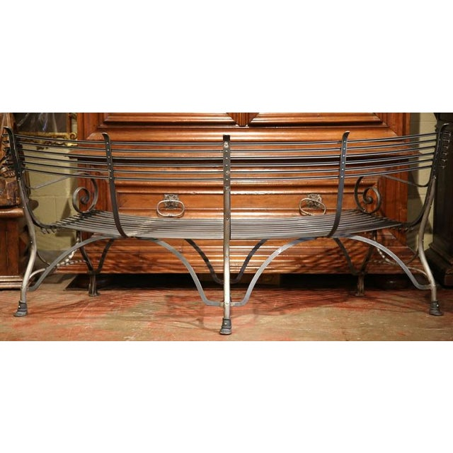 French Polished Iron Hoof Foot Curved Bench Signed Sauveur Arras For Sale - Image 10 of 10
