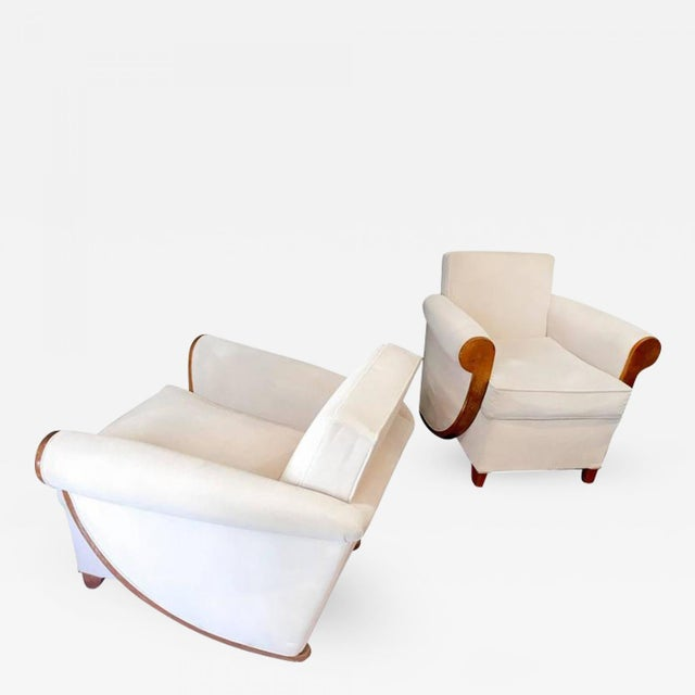 Oak Louis Sognot Superb Comfortable Pair of Club Chairs in Cerused Oak For Sale - Image 7 of 7