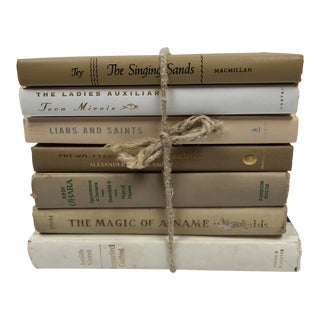 Vintage Cream/ Tan/Neutral Book Stack - Set of 7 For Sale