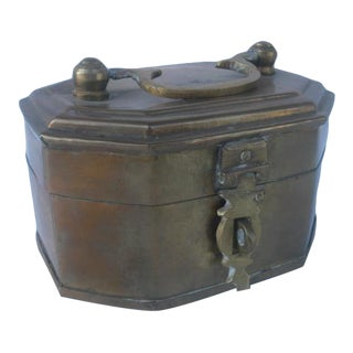Lidded Brass Keepsake Box For Sale