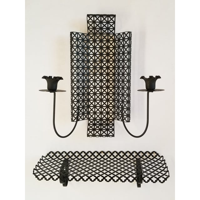 Mid Century Modern Wire Mesh Candle Holder & Shelf Set For Sale - Image 13 of 13