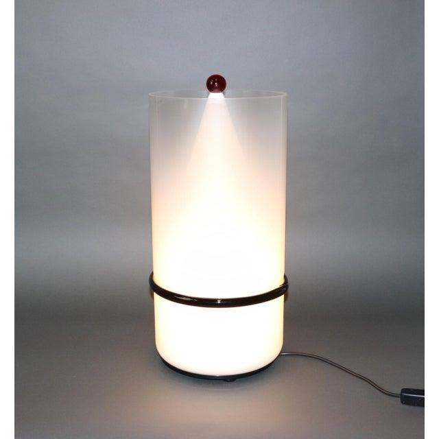 "Murano Hand Blown Glass Table Lamp, white smoked glass with black ""morisa"" stripe, and milky white interior glass diffuser..."