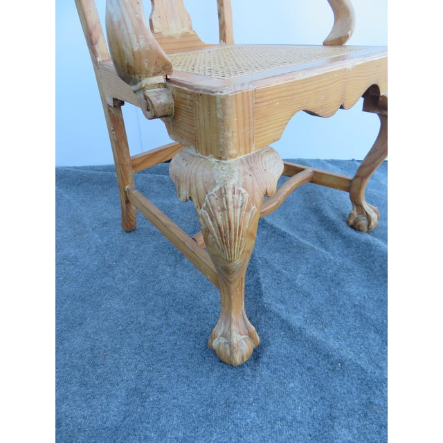 Brown Early 20th Century English Pine Chippendale Carved Arm Chairs - a Pair For Sale - Image 8 of 9