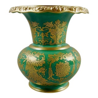 Green & Gold Rosenthale Porcelain Vase For Sale