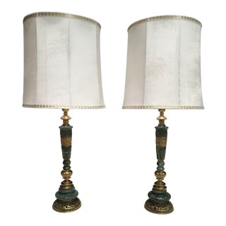 Pair of Japanese Bronze and Italian Marble Table Lamps W/ Original Shades by James Mont For Sale