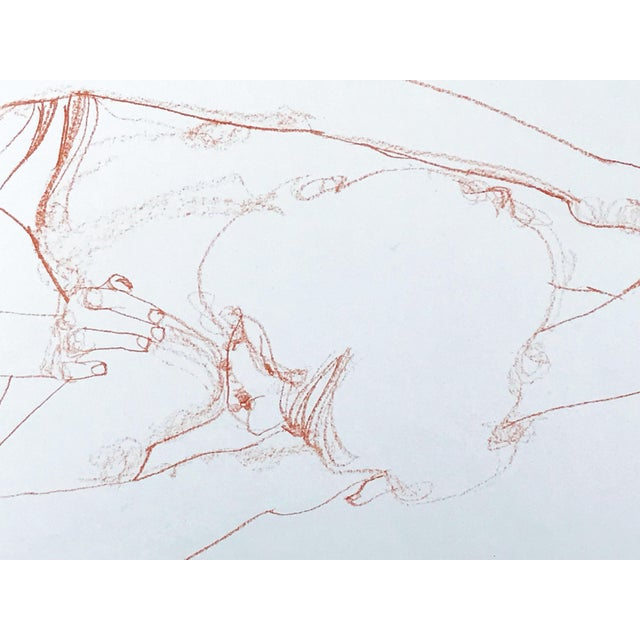 1960s Vintage Bohemian Sanguine Drawing of Nude Couple For Sale - Image 5 of 8