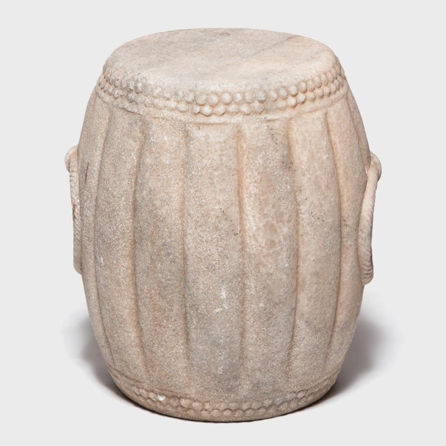 Chinese Melon Form Marble Drum Table For Sale - Image 4 of 7